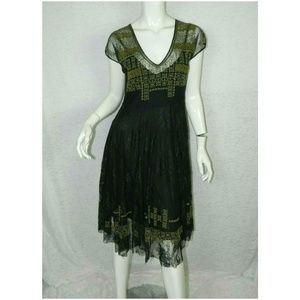 Johnny Was Floral Embroidery Fit & Flare Dress M